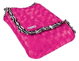 Trend Lab Velour Blanket with Trim, Pink Rosette with Zebra