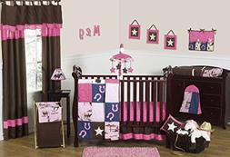 Western Horse Cowgirl Pink and Brown Baby Girl Bedding 11pc