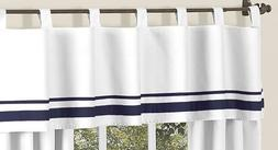 White and Navy Hotel Modern Window Valance by Sweet Jojo De