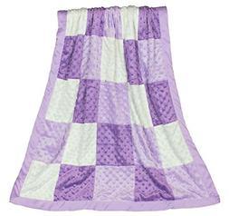 Zoe Purple Minky Dot Patchwork Blanket, Reverses to Lavender