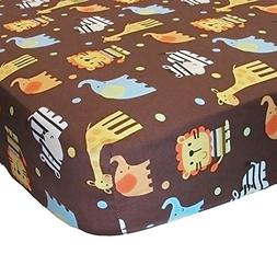 ZuZu and Friends Jungle Animals Fitted Crib Sheet by Belle