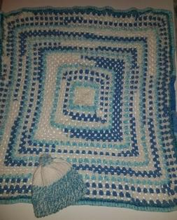 A Super Soft Hand Crocheted Baby Blanket and Hat Set
