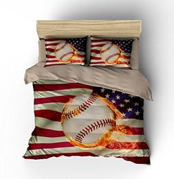 "Abstract American Flag Baseball Cotton Microfiber 3pc 90""x90"