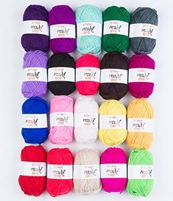 SUNTQ 100% Acrylic Yarn 20 x 50yard  Skeins Bonbons Yarn Ass