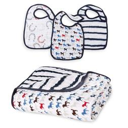 Aden + Anais 3 Snap Bibs and 1 Dream Blanket Wild Horses Col