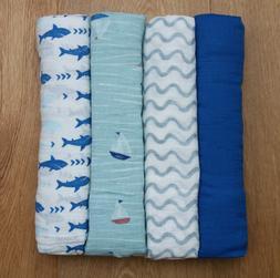 Aden Anais Baby Boy Swaddle Blanket ~ Waves, Sailboat, Shark