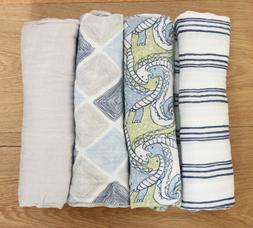 Aden Anais Baby Boy Swaddle Blanket~White, Blue, Green & Gra
