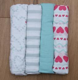 Aden Anais Baby Girl Swaddle Blanket ~ White, Pink & Aqua ~H