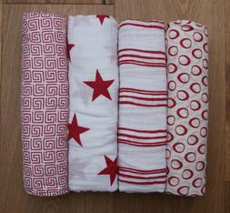 Aden Anais Baby Swaddle Blanket ~ White & Red ~ Special Edit