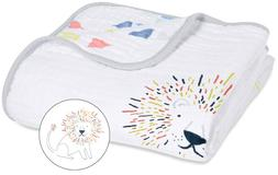 "Aden & Anais Classic Dream Cotton Muslin 47"" x 47"" Baby Blan"