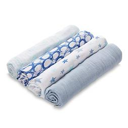 aden by aden + anais Swaddle Blankets 4pk, Blue Stars
