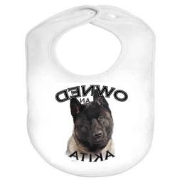 Akita BLACK Owned 100% Polyester Infant Baby Bib