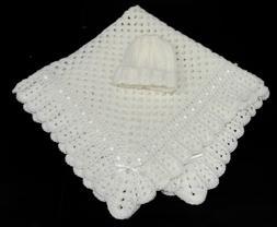 All White Soft NEW Crocheted BABY BLANKET & Hat Gift Handmad