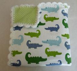 Alligator Reversible Baby Receiving Blanket Hand Crochet Edg
