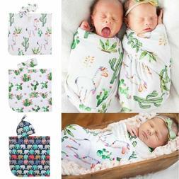 Alpaca Cactus Printed Muslin Wrap Baby Swaddle Blanket Sets