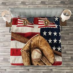 American Flag Quilted Bedspread & Pillow Shams Set, Grunge B