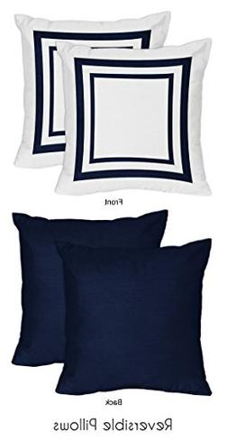 Anchors Away Nautical Navy and White Decorative Accent Throw