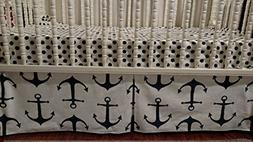 Anchors Navy blue and white Crib Skirt . 4 Sided box Pleat,