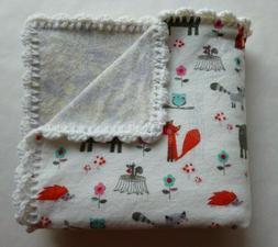 AnimalsUnisexBaby Receiving Blanket Hand Crochet EdgeF
