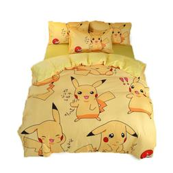 Anime Pikachu Quilt Duvet Cover Sheet Bed Set Warmer Bedding