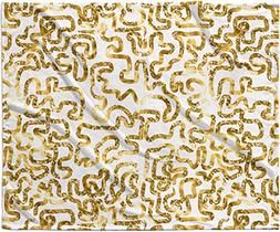 "KESS InHouse Anneline Sophia ""Squiggles in Gold"" Yellow Whit"