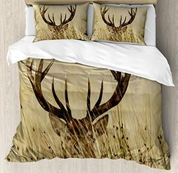 Antler Decor Queen Size Duvet Cover Set by Ambesonne, Whitet