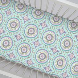 Carousel Designs Aqua Haute Circles Crib Sheet