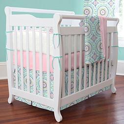 Carousel Designs Aqua Haute Circles Mini Crib Skirt Box Plea