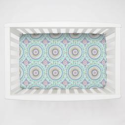 Carousel Designs Aqua Haute Circles Mini Crib Sheet 5-Inch-6