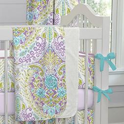 Carousel Designs Aqua and Purple Jasmine Crib Blanket