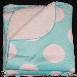 Circo Aqua White Dots Circles Baby Blanket 30x40 new