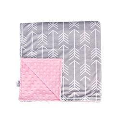 Towin Baby Arrow Minky Double Layer Receiving Blanket, Pink