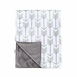 "Towin Baby Arrow Minky Double Receiving Blanket, Grey 30""x40"