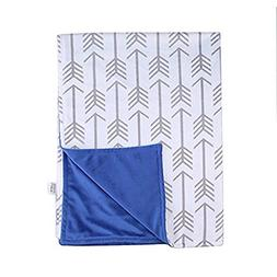 "Towin Baby Arrow Minky Receiving Blanket, Navy Blue 30""x40"""