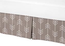Sweet Jojo Designs Arrow Print Gray Toddler Bed Skirt for Ou