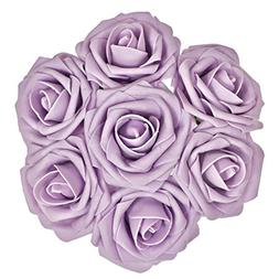 Ling's moment Artificial Flowers Lilac/Pale Purple Roses 50p