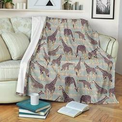 VibesPrints Aztec Giraffe Pattern Print Premium Fleece Blank
