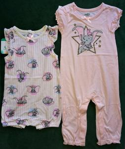@DISNEY BABY 2 PACK DUMBO PINK ONE-PIECE ROMPERS SET@NWT!
