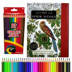 120+ Exotic Birds Floral Adult Youth Coloring Book + BONUS 1