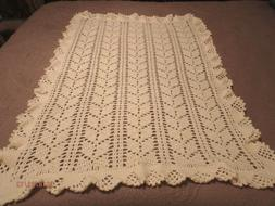 Baby Afghan Crib Blanket, Lace Leaf Design,  Handmade, New