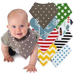 Baby Bandana Drool Bibs - 8 Gift Unisex Set - For Boys and G