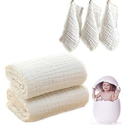 Baby Bath Towels and Washcloths Set Also For Baby Swaddle Bl