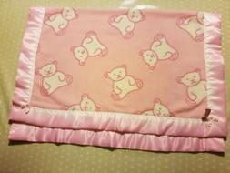 Baby bedding Handmade Baby Blanket White Bear on Pink Fleece
