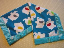 Baby Bedding-Blue Elephant Fleece Blanket-Turquoise Satin Bi