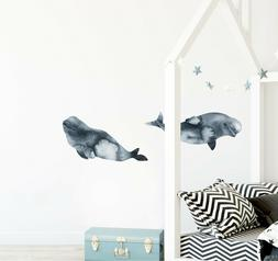 Baby Beluga Whale Wall Decal Set of 2 Watercolor Wall Art St