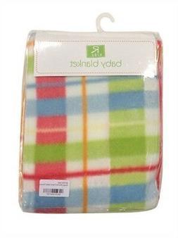 Baby blanket 75 x 100cm night sleep child bedding green blue orange checked