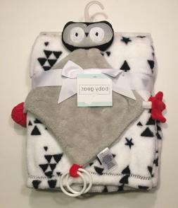 Baby Gear Baby Blanket & Owl Security Blanket Set Black/Whit