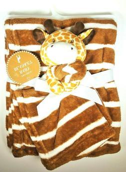 Baby Blanket and Plush Lovey Giraffe 2 Piece Set Brown White