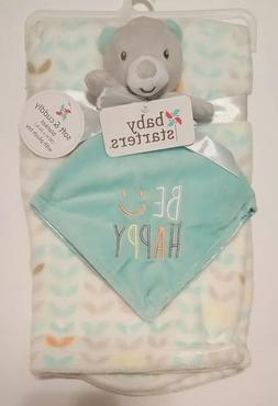 Baby Blanket Bear Baby Starters Set Gray Blue Security Lovey