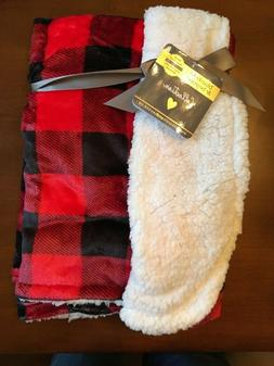 Baby Blanket Beyond Fleece Red Black Buffalo Plaid Check Rev